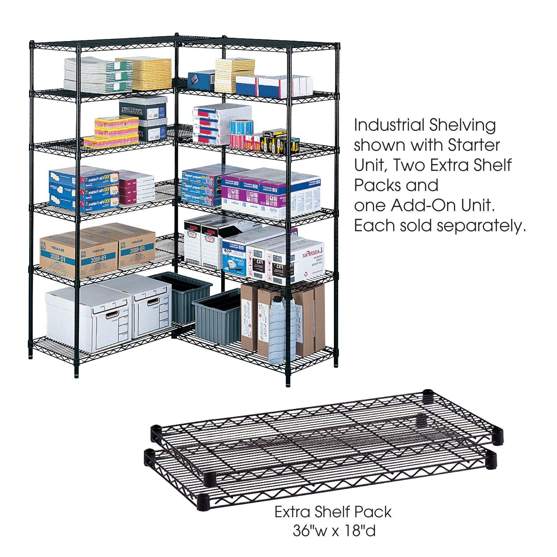"Industrial Wire Shelving Extra Shelf Pack, 36 x 18"", Pack of 2-Storage Cabinets & Shelving-Black-"
