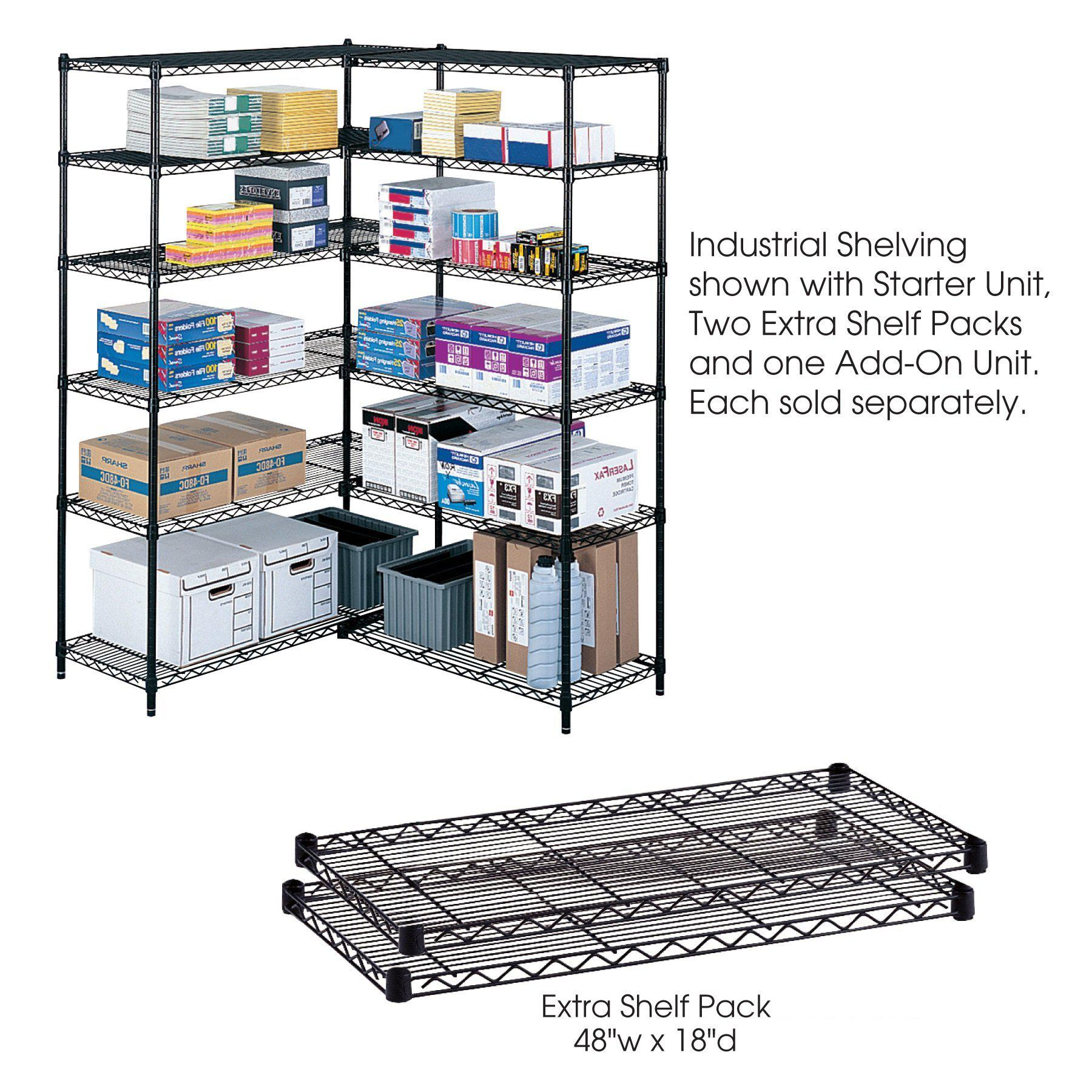 "Industrial Wire Shelving Extra Shelf Pack, 48 x 18"", Pack of 2-Storage Cabinets & Shelving-Black-"