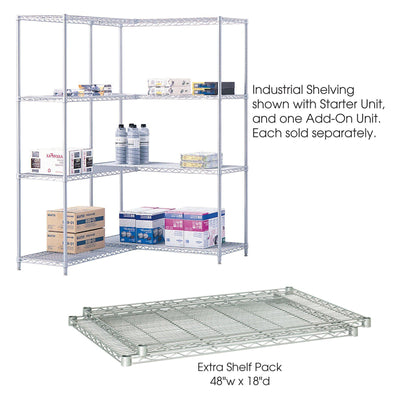 "Industrial Wire Shelving Extra Shelf Pack, 48 x 18"", Pack of 2-Storage Cabinets & Shelving-Metallic Gray-"