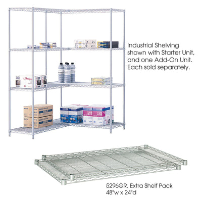 "Industrial Extra Shelf Pack, 48 x 24"", Metallic Gray, Pack of 2"