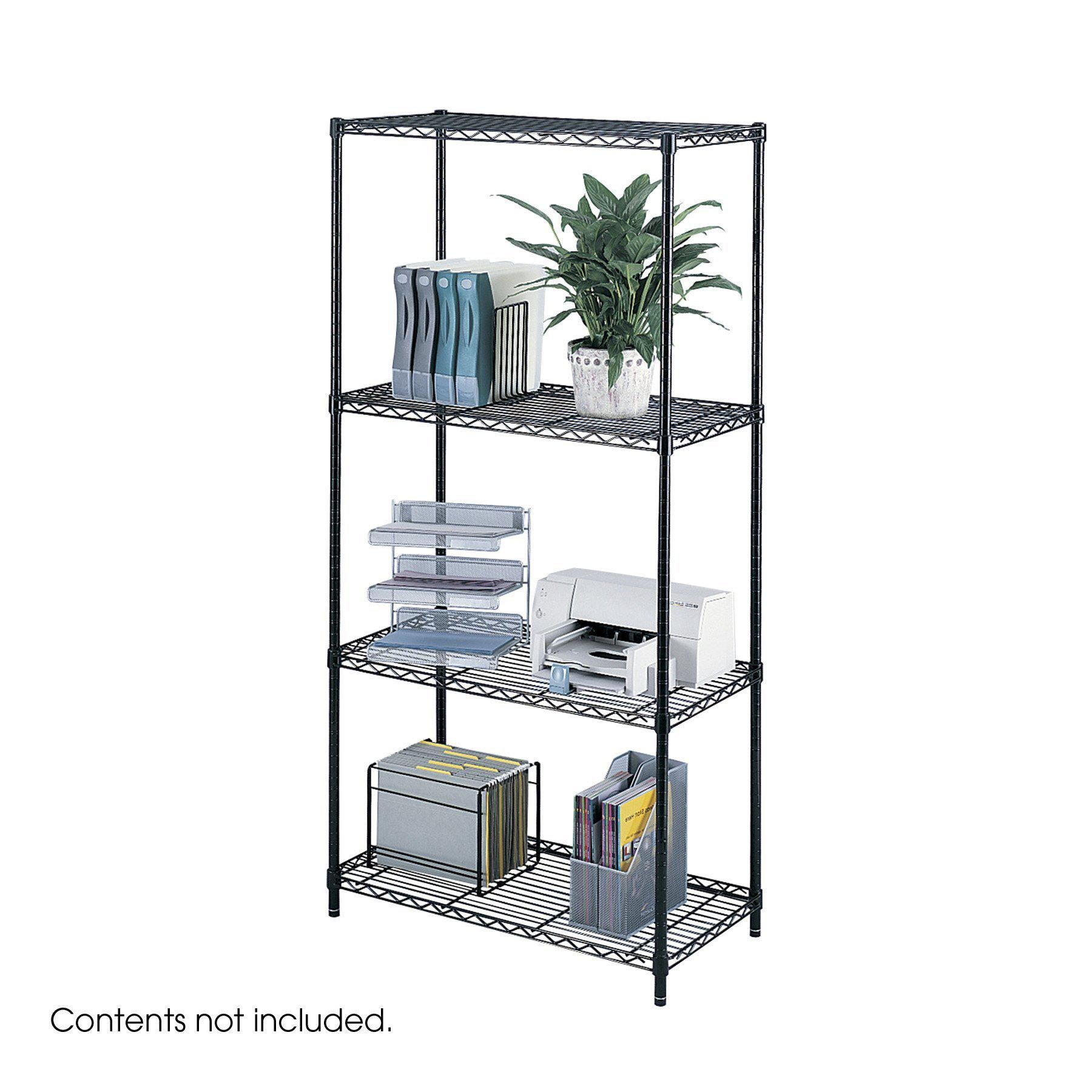 "Industrial Wire Shelving, Starter Unit, 36 x 18""-Storage Cabinets & Shelving-Black-"
