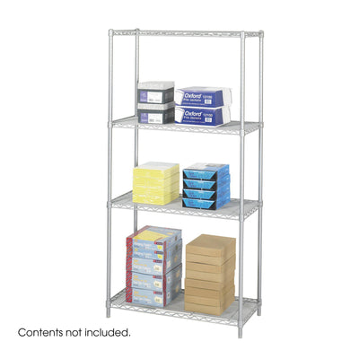"Industrial Wire Shelving, Starter Unit, 36 x 18""-Storage Cabinets & Shelving-Metallic Gray-"