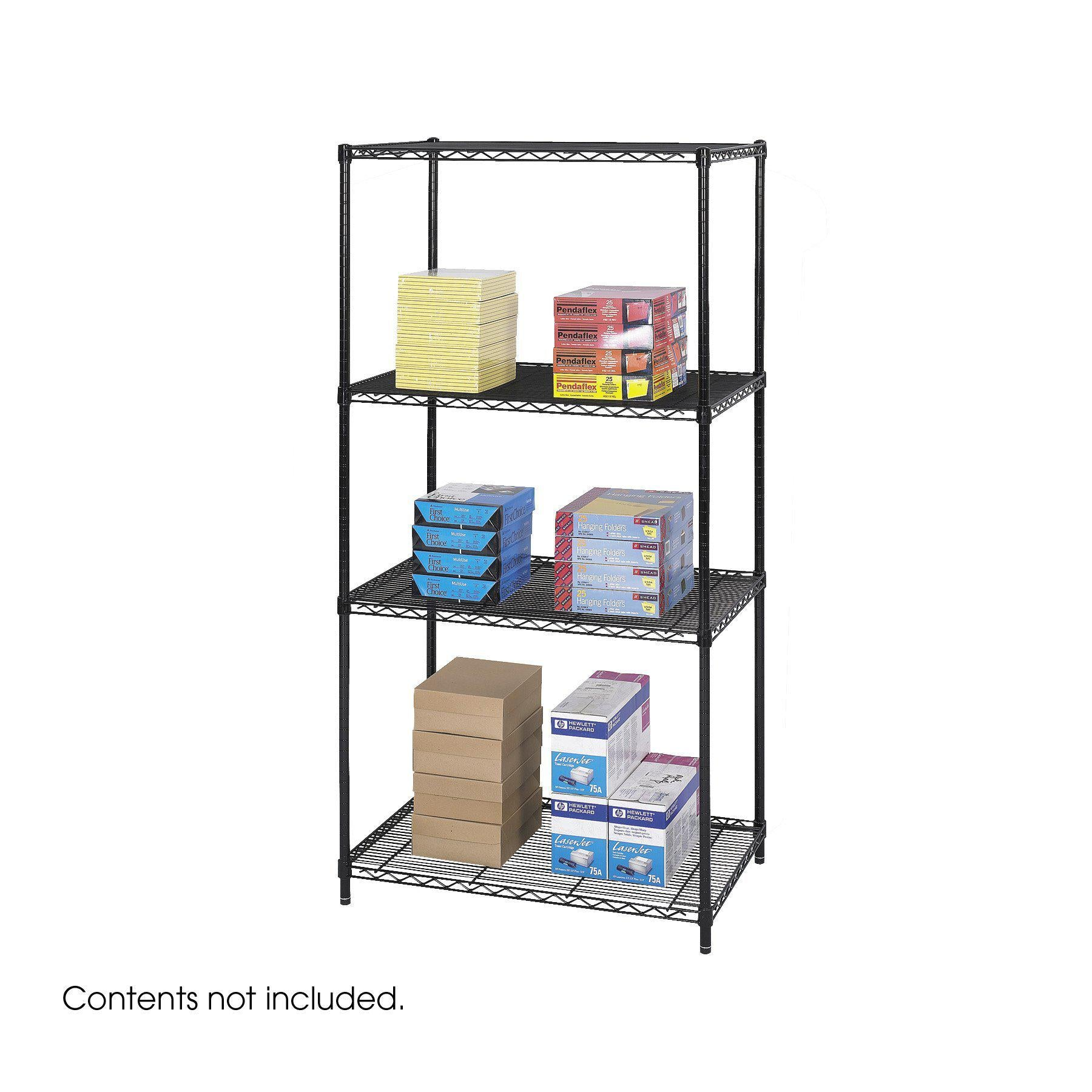 "Industrial Wire Shelving, Starter Unit, 36 x 24""-Storage Cabinets & Shelving-Black-"
