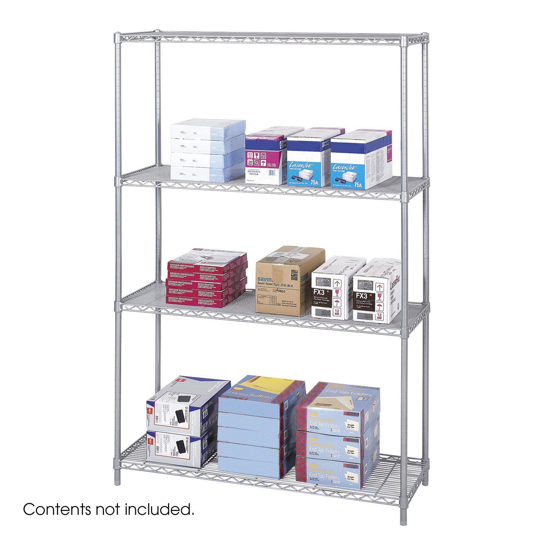"Industrial Wire Shelving, Starter Unit, 48 x 18"", Metallic Gray"