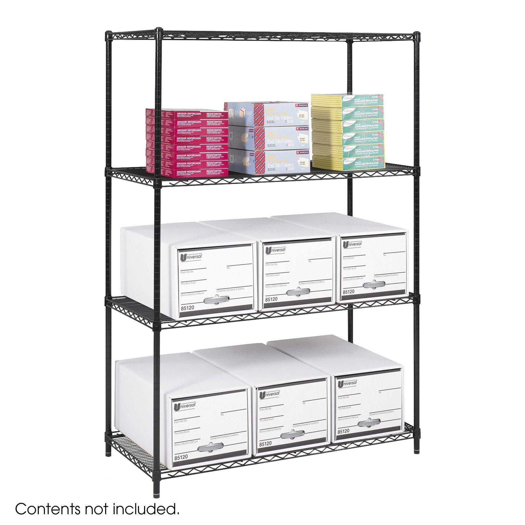 "Industrial Wire Shelving, Starter Unit, 48 x 24""-Storage Cabinets & Shelving-Black-"