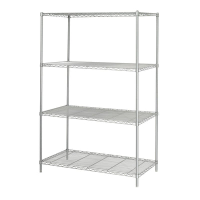 "Industrial Wire Shelving, Starter Unit, 48 x 24""-Storage Cabinets & Shelving-Metallic Gray-"
