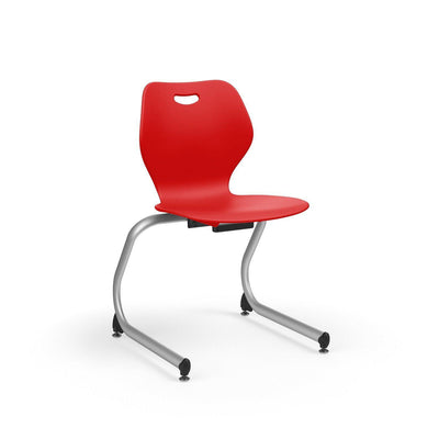 "Intellect Wave Cantilever Stack Chair, 18"" Seat Height-Chairs-Starlight Silver Metallic (SX)-Poppy Red (PPR)-"