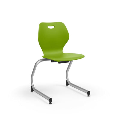 "Intellect Wave Cantilever Stack Chair, 18"" Seat Height-Chairs-Starlight Silver Metallic (SX)-Zesty Lime (PZL)-"