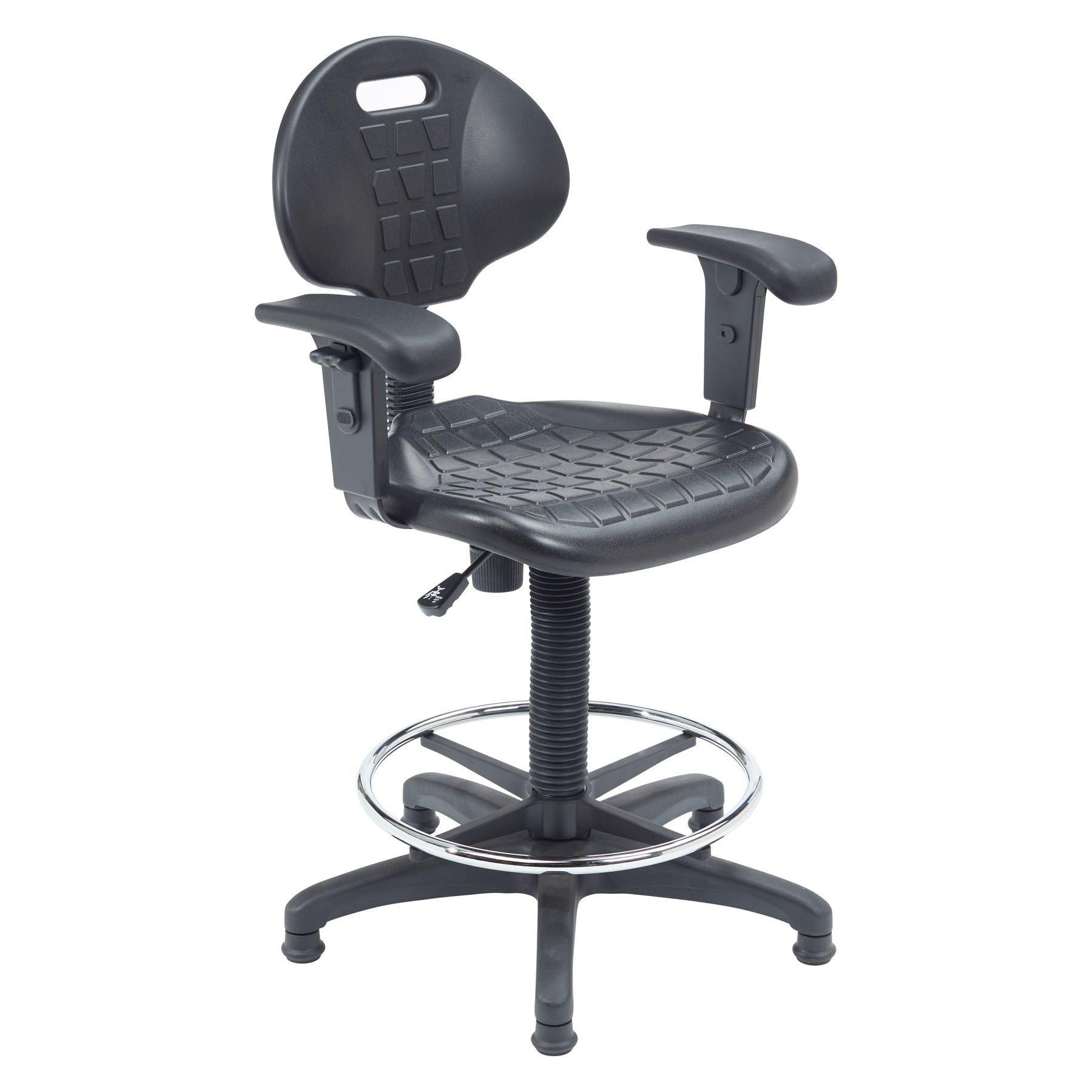 Kangaroo Stool with Arms, Polyurethane Seat and Backrest, Black-Stools-
