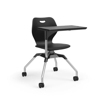 Learn2 Wave Mobile Chair with Black Worksurface-Chairs-Black (PBL)-Starlight Silver Metallic (SX)-No