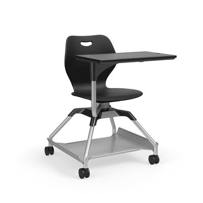 Learn2 Wave Mobile Chair with Black Worksurface-Chairs-Black (PBL)-Starlight Silver Metallic (SX)-Yes