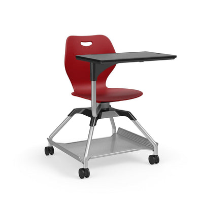 Learn2 Wave Mobile Chair with Black Worksurface-Chairs-Cayenne (PCY)-Starlight Silver Metallic (SX)-Yes