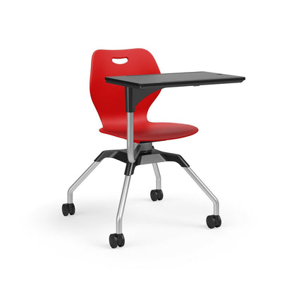 Learn2 Wave Mobile Chair with Black Worksurface-Chairs-Poppy Red (PPR)-Starlight Silver Metallic (SX)-No