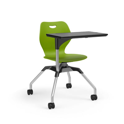 Learn2 Wave Mobile Chair with Black Worksurface-Chairs-Zesty Lime (PZL)-Starlight Silver Metallic (SX)-No
