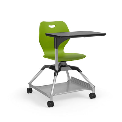 Learn2 Wave Mobile Chair with Black Worksurface-Chairs-Zesty Lime (PZL)-Starlight Silver Metallic (SX)-Yes