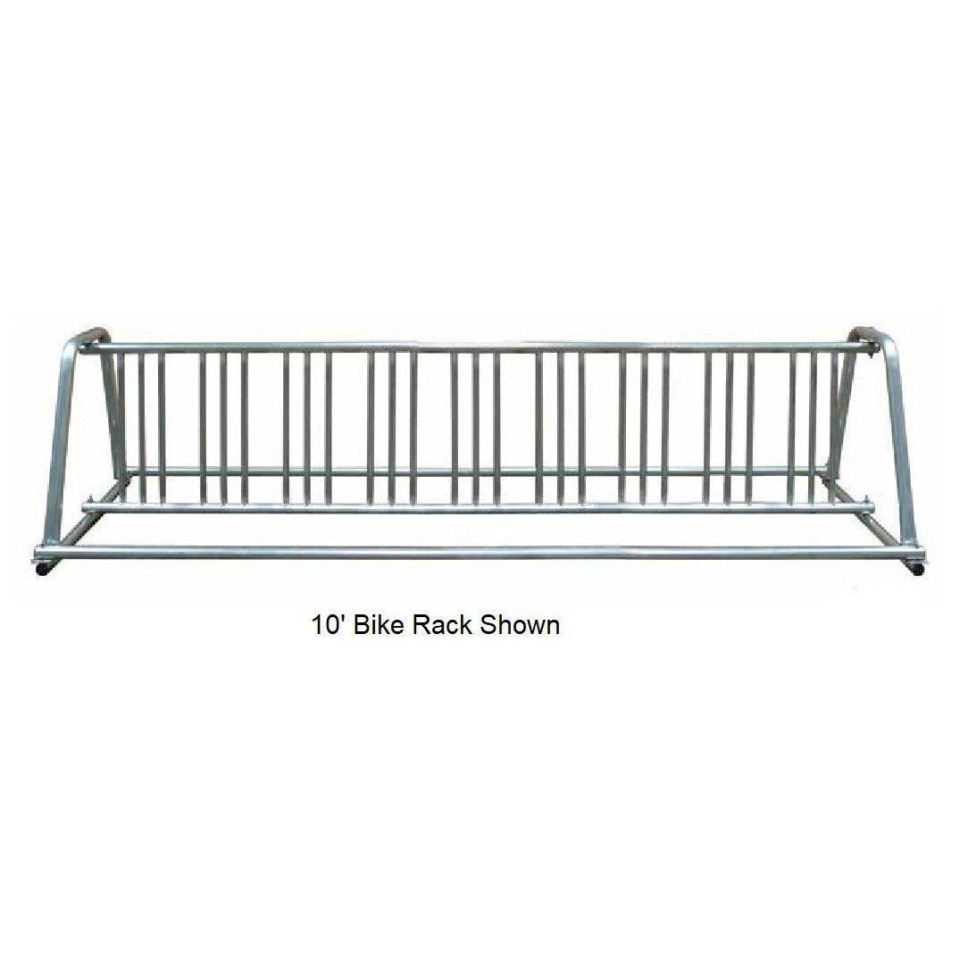 A-Frame Galvanized Double-Sided Portable Bike Rack, 8' Long, 14 Bikes