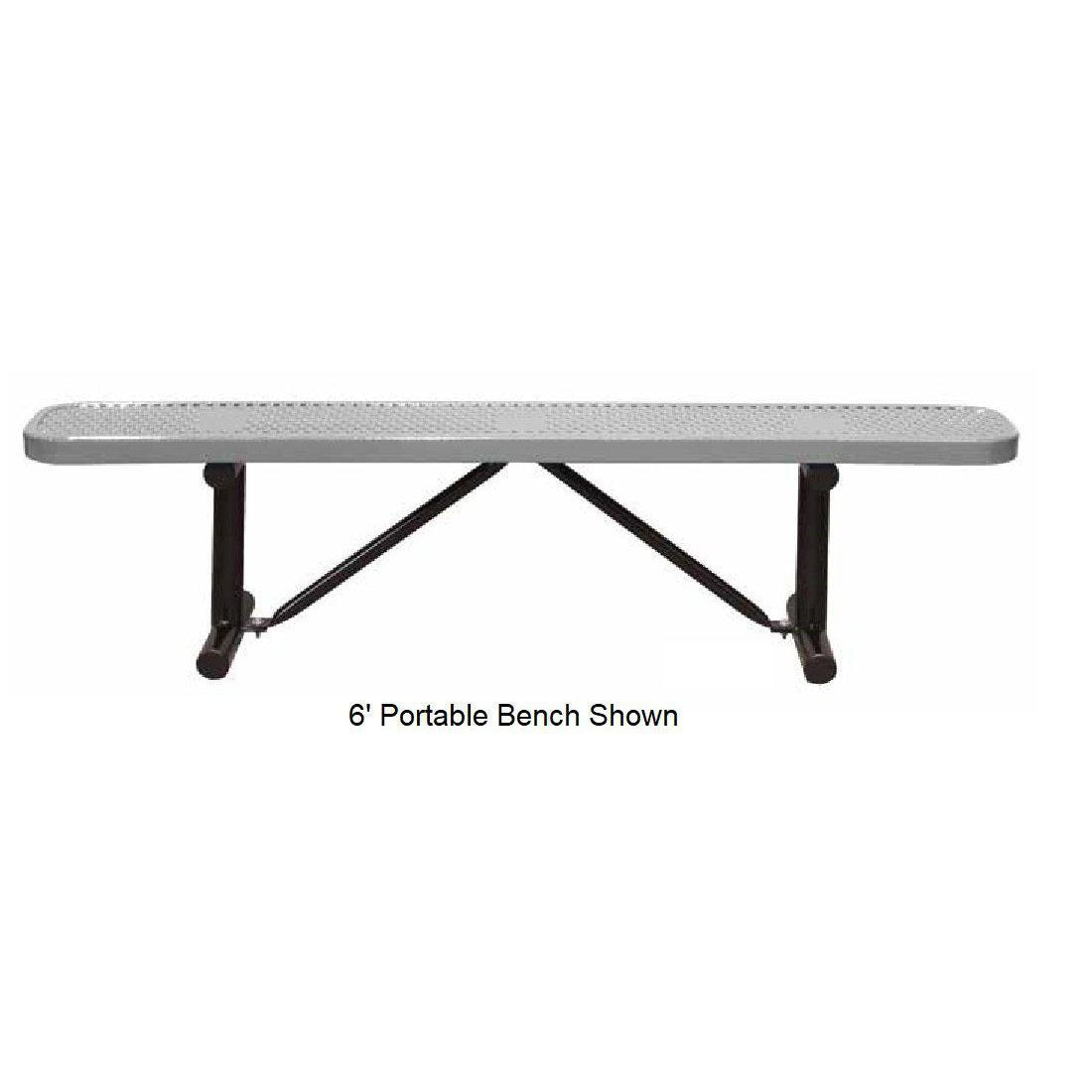 8' Standard Perforated Bench Without Back, Portable