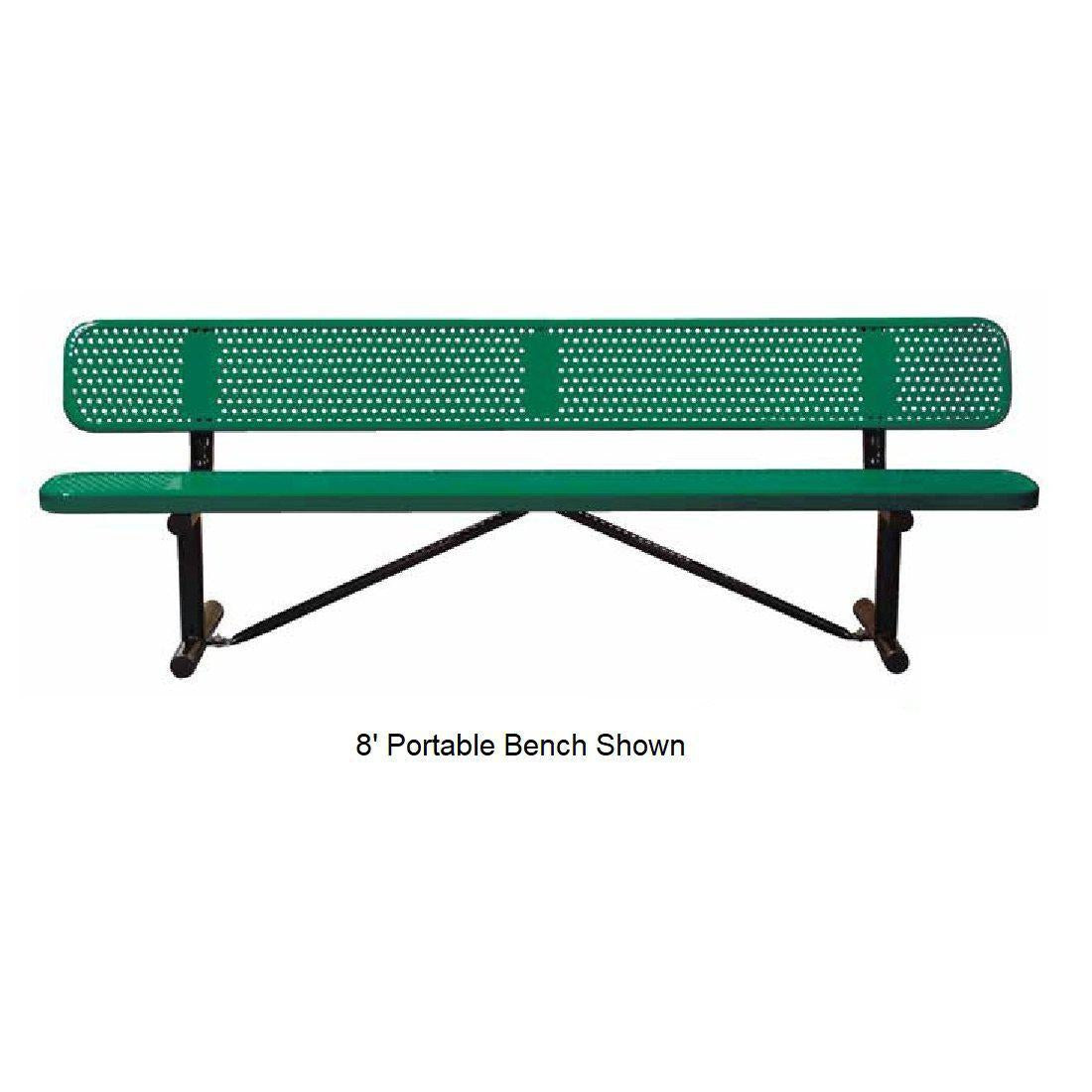 8' Standard Perforated Bench With Back, Portable