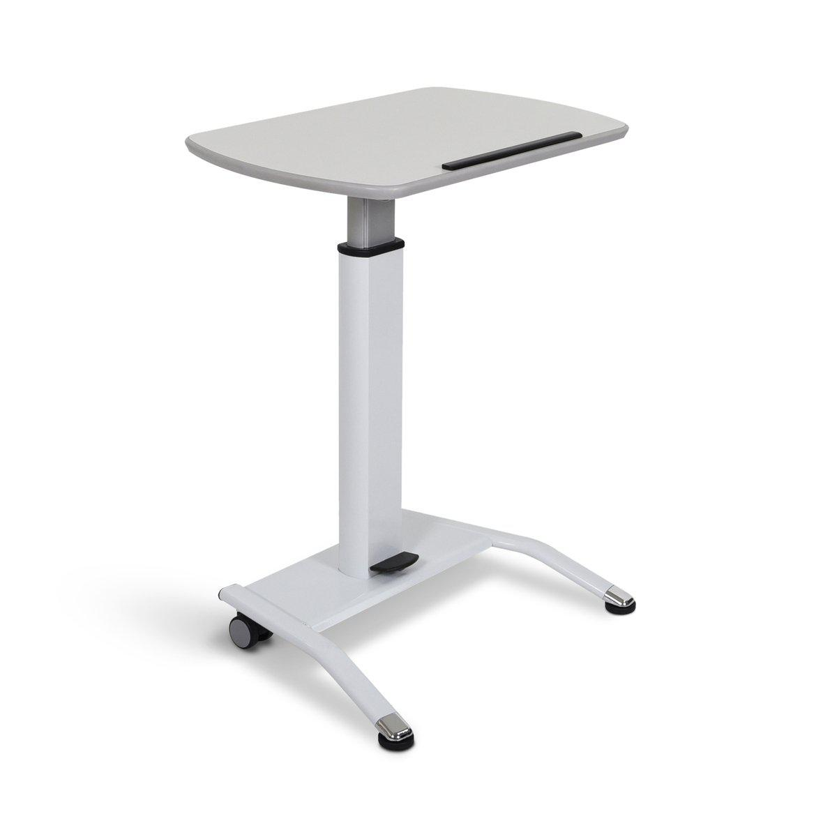 Pneumatic Adjustable-Height Lectern/Mobile Standing Desk, White Top