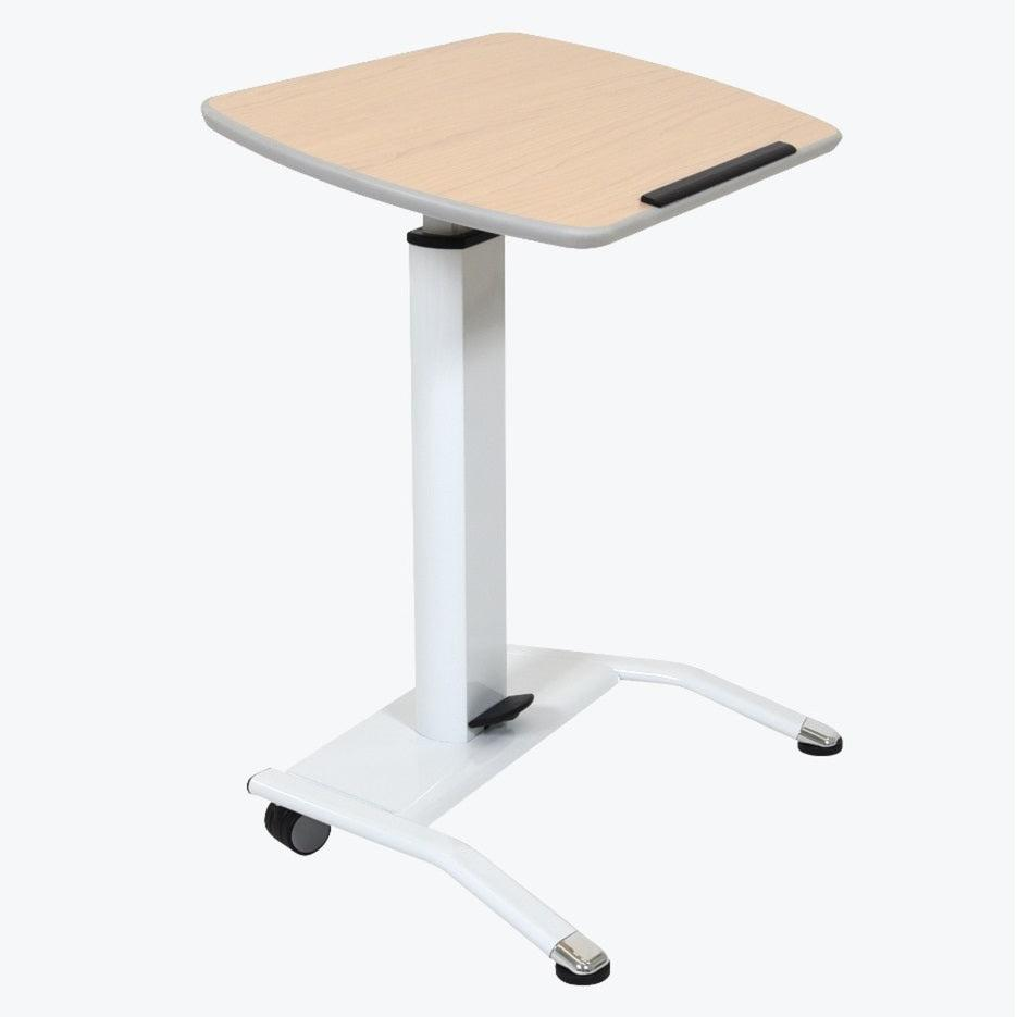 Pneumatic Adjustable-Height Lectern/Mobile Standing Desk, Light Wood Top