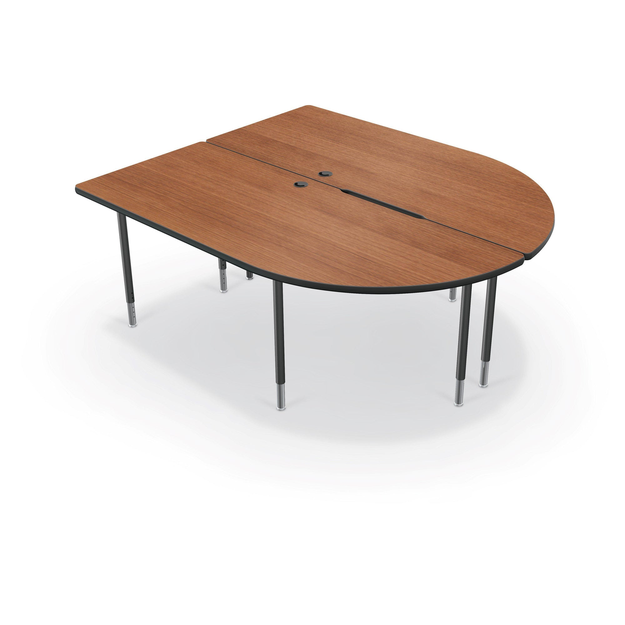 MediaSpace Large Split Piece D-Shape AV Table, 6 Ft.-Tables-Amber Cherry with Black Edgeband-Black-