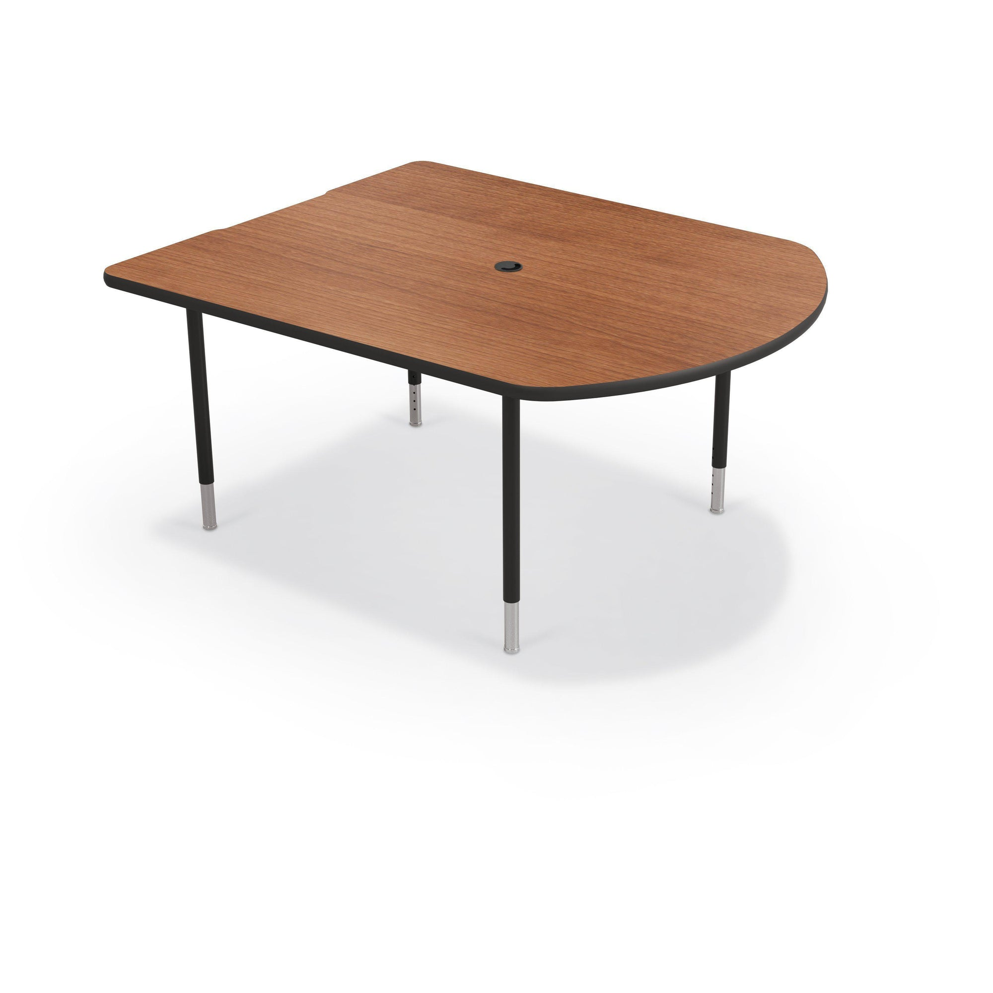 MediaSpace Small D-Shape AV Table, 5 Ft.-Tables-Amber Cherry with Black Edgeband-Black-