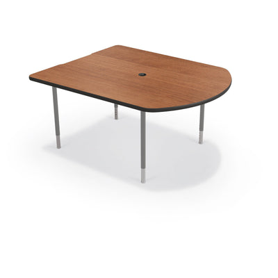 MediaSpace Small D-Shape AV Table, 5 Ft.-Tables-Amber Cherry with Black Edgeband-Platinum-