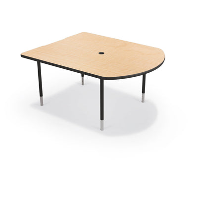 MediaSpace Small D-Shape AV Table, 5 Ft.-Tables-Fusion Maple with Black Edgeband-Black-