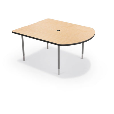 MediaSpace Small D-Shape AV Table, 5 Ft.-Tables-Fusion Maple with Black Edgeband-Platinum-