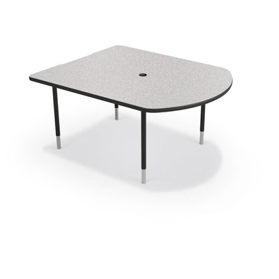 MediaSpace Small D-Shape AV Table, 5 Ft.-Tables-Grey Nebula with Black Edgeband-Black-