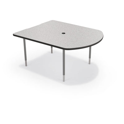 MediaSpace Small D-Shape AV Table, 5 Ft.-Tables-Grey Nebula with Black Edgeband-Platinum-