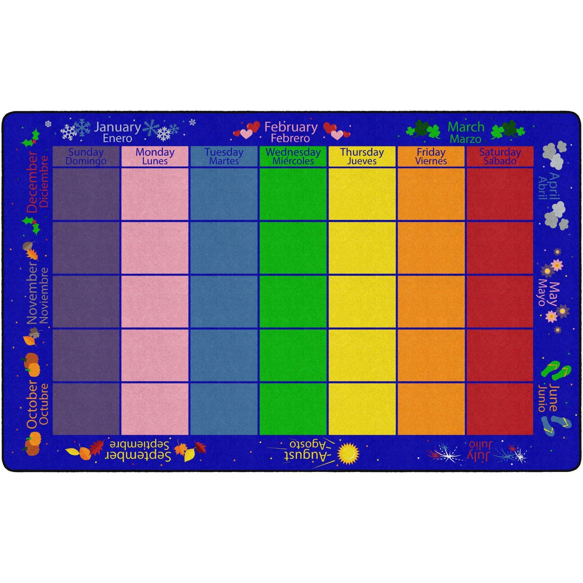 My Monthly Calendar Bilingual Rugs-Classroom Rugs & Carpets-