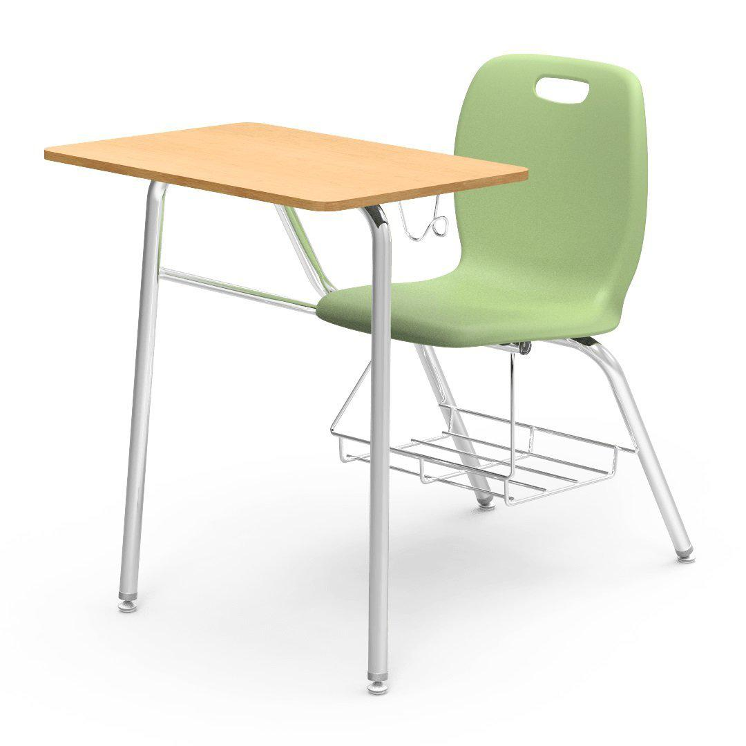 N2 Series Chair Desk-Desks-Green Apple-Fusion Maple-Yes