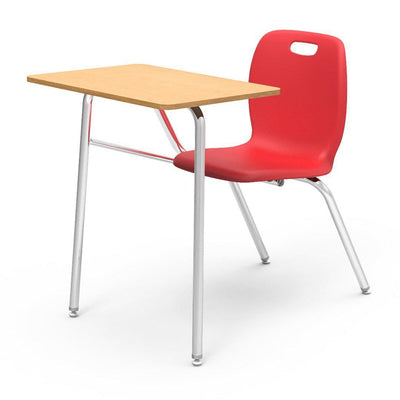 N2 Series Chair Desk-Desks-Red-Fusion Maple-No