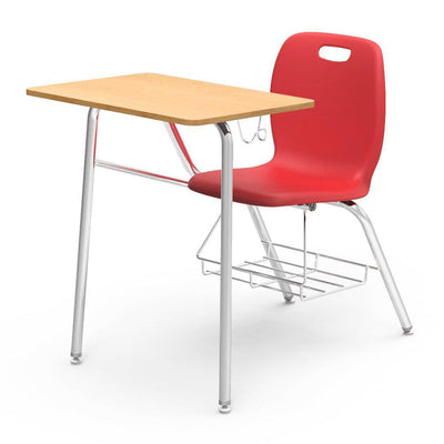 N2 Series Chair Desk-Desks-Red-Fusion Maple-Yes