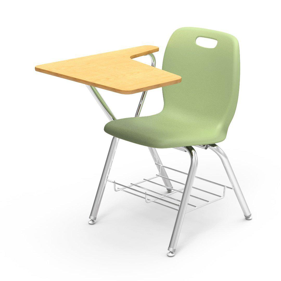 N2 Series Tablet Arm Chair Desk-Chairs-Green Apple-Fusion Maple-