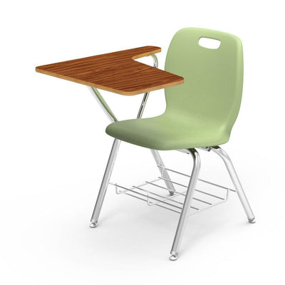 N2 Series Tablet Arm Chair Desk-Chairs-Green Apple-Medium Oak-