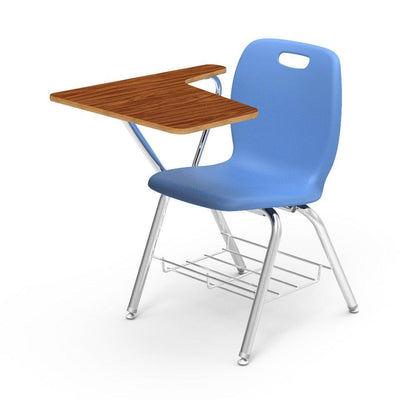 N2 Series Tablet Arm Chair Desk-Chairs-Sky Blue-Medium Oak-
