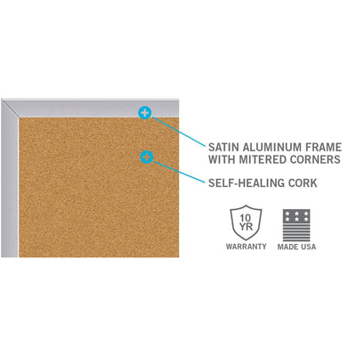 Natural Cork Bulletin Board with Satin Aluminum Frame-Boards-