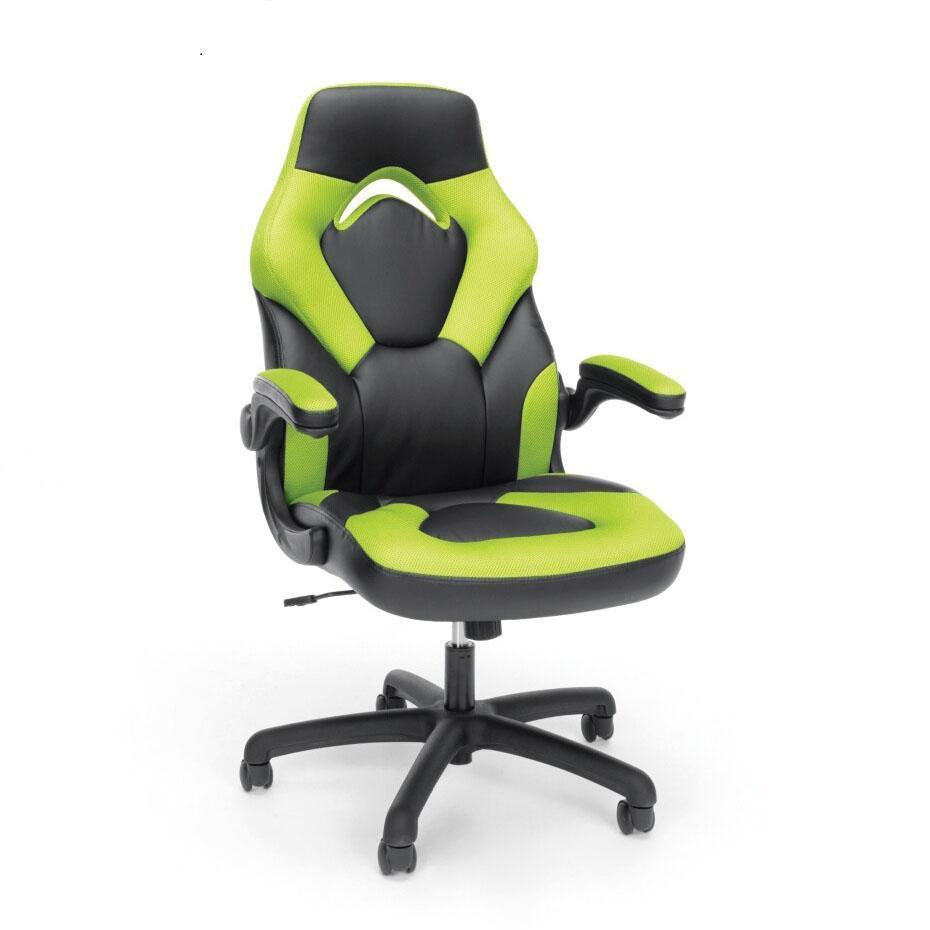 NextGen Leather/Mesh High-Back-Gaming Chair with Flip Arm-Chairs-Green-