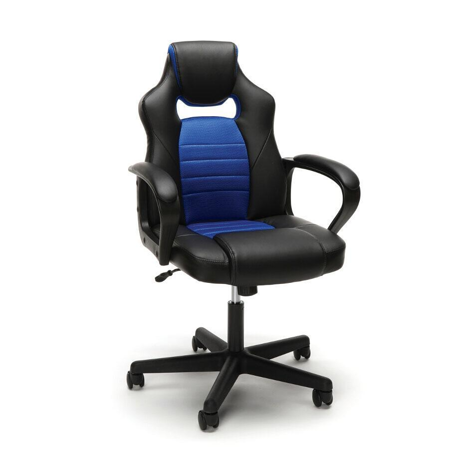 NextGen Leather/Mesh Mid-Back Gaming Chair-Chairs-Blue-