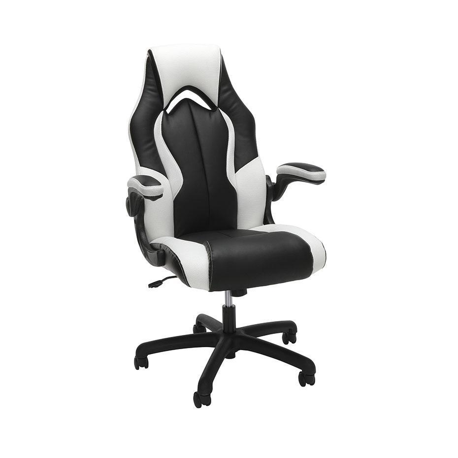 NextGen Leather/Mesh Racing Style Gaming Chair with Flip Arm-Chairs-White-