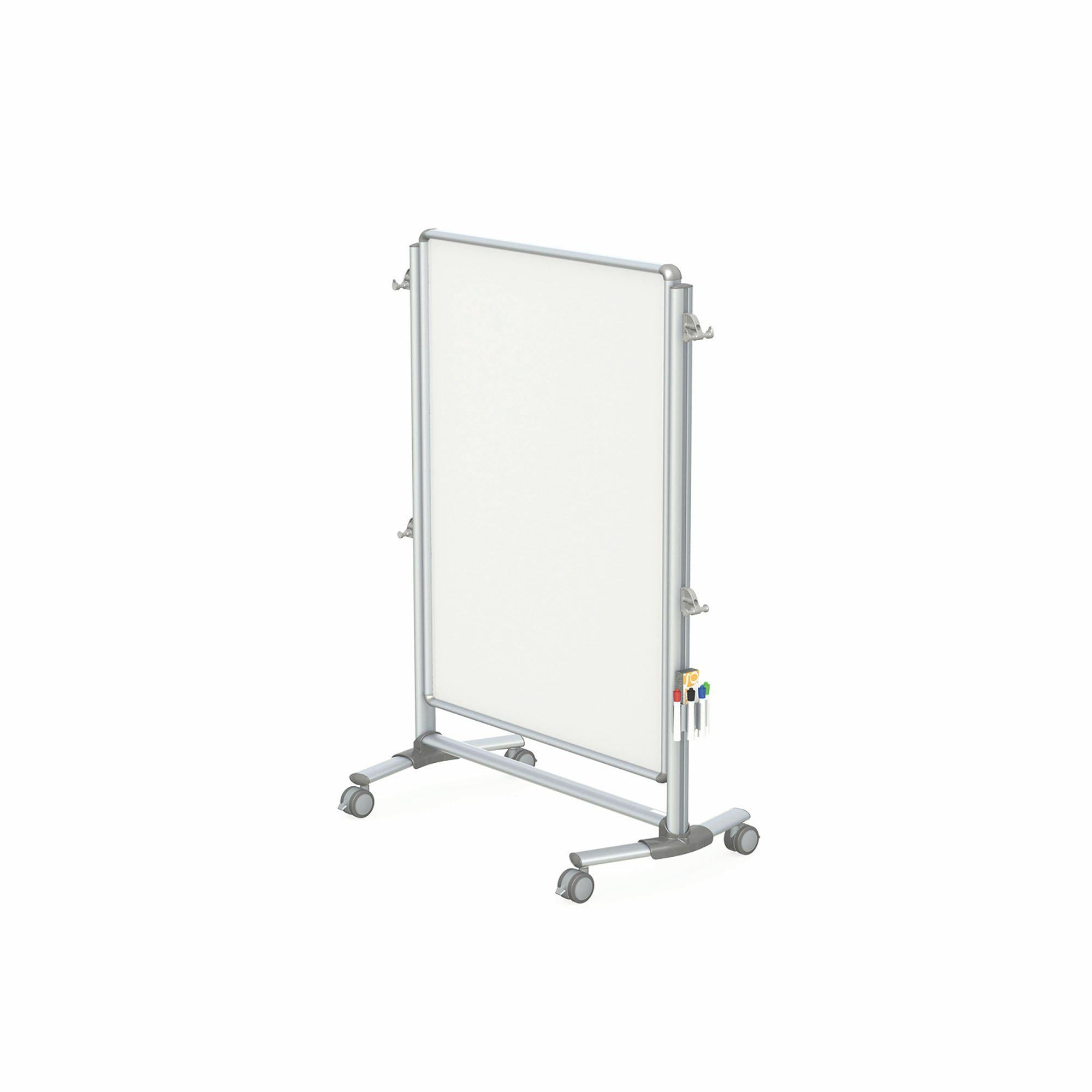 "Nexus Jr. Partition, Mobile 2-Sided Porcelain Magnetic Whiteboard, 46""H x 34""W-Boards-"