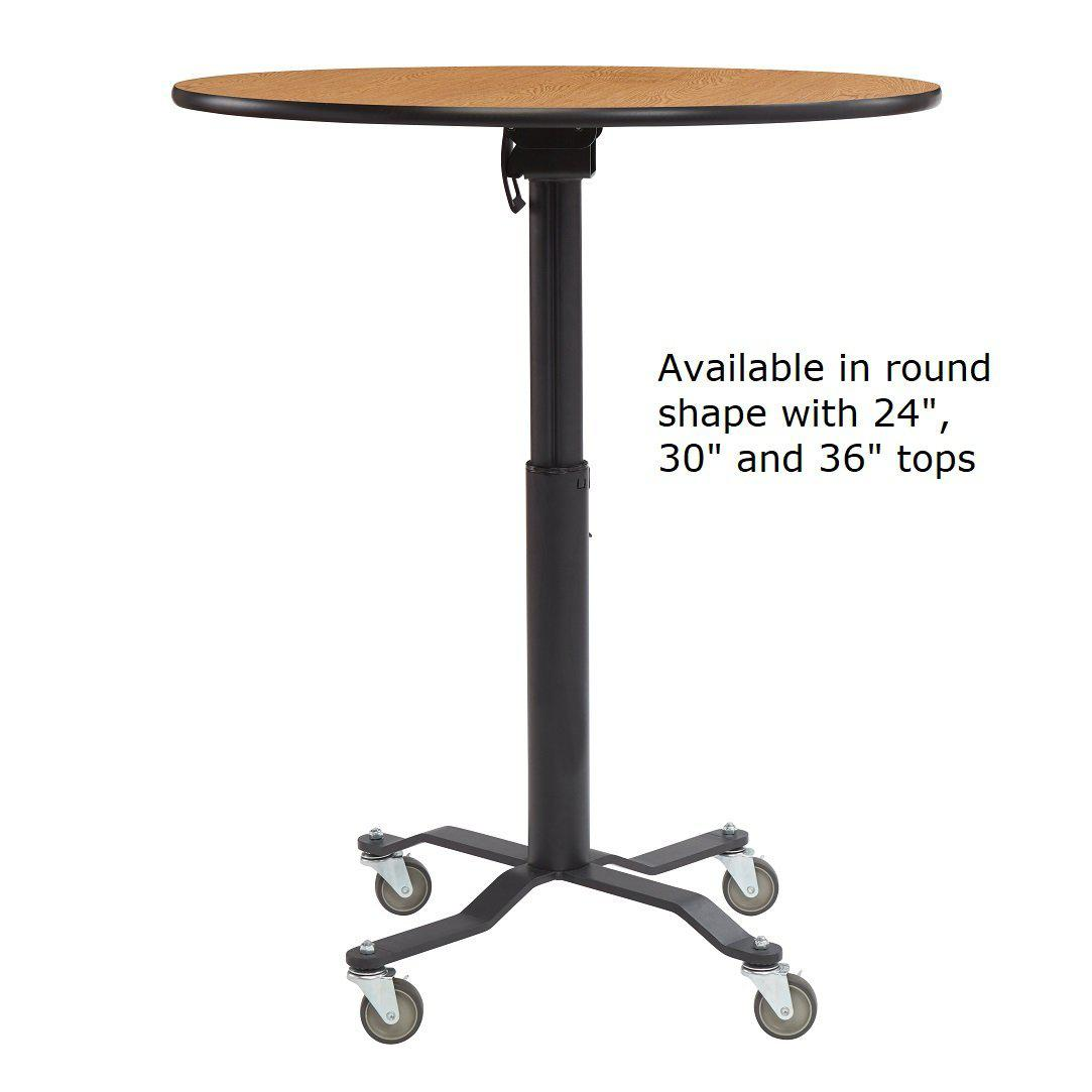 Premium Plus Café Table, High Pressure Laminate Top with Particleboard Core, Vinyl T Mold, Textured Black Frame