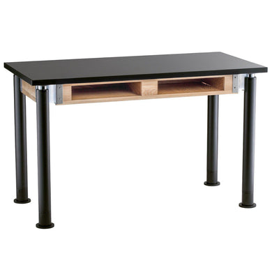 "NPS Superior Science Lab Tables with Phenolic Top, Contemporary Styled Height Adjustable Legs-Science & Lab Furniture-24"" x 48""-Textured Black with Glides-2 Book Compartments"