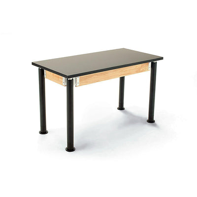 "NPS Superior Science Lab Tables with Phenolic Top, Contemporary Styled Height Adjustable Legs-Science & Lab Furniture-24"" x 48""-Textured Black with Glides-Solid Front Apron"