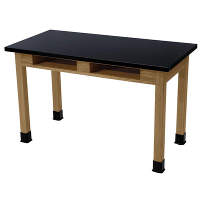 "NPS Superior Science Lab Tables with Phenolic Top, Solid Wood Legs-Science & Lab Furniture-30""-24"" x 48""-2 Book Compartments"