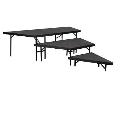 "NPS® 3 Level Stage Pie Set-Stages & Risers-For 36"" Wide Stages-Grey Carpet-"