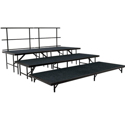 NPS® 3-Level Straight Stage Set-Stages & Risers-3' x 8'-Black Carpet-
