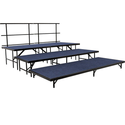 NPS® 3-Level Straight Stage Set-Stages & Risers-3' x 8'-Blue Carpet-
